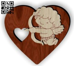 Angel with heart E0014839 file cdr and dxf free vector download for laser cut
