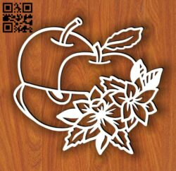 Apple with flower E0014541 file cdr and dxf free vector download for laser cut