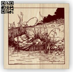 Baby on the river E0014530 file cdr and dxf free vector download for laser engraving machine