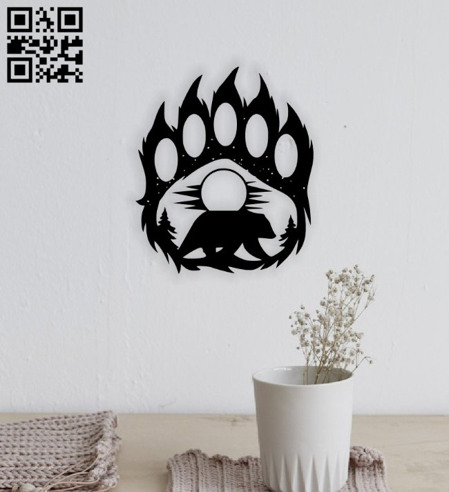 Bear paw E0014662 file cdr and dxf free vector download for laser cut plasma