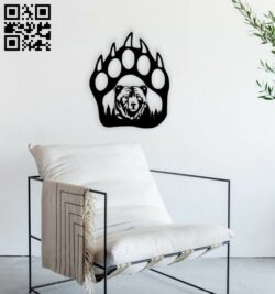 Bear paw E0014665 file cdr and dxf free vector download for laser cut plasma