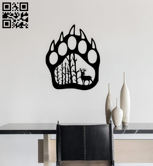 Bear paw with deer E0014664 file cdr and dxf free vector download for laser cut plasma