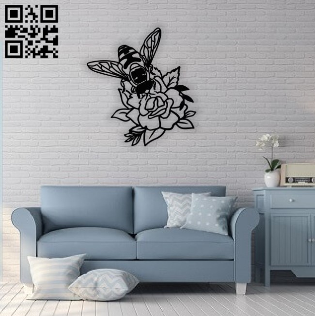 Bee on flower wall decor E0014513 file cdr and dxf free vector download for laser cut plasma