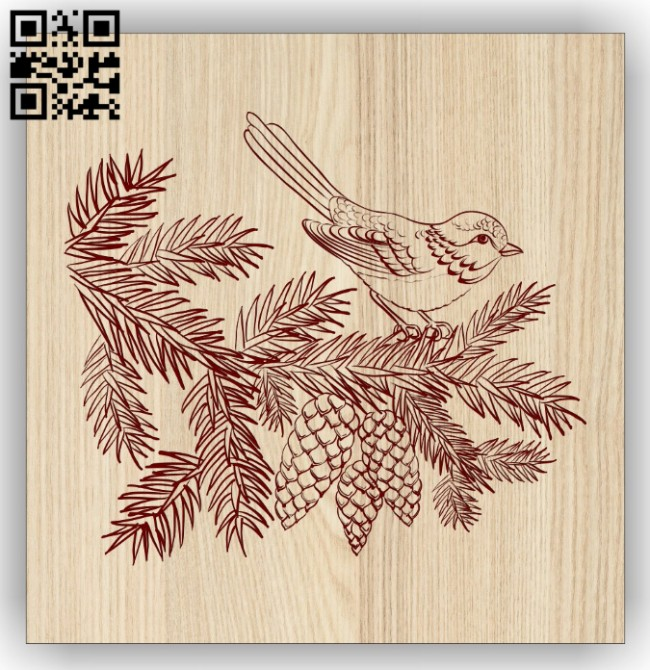 Bird on a branch E0014598 file cdr and dxf free vector download for laser engraving machine