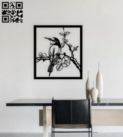 Bird on a branch wall decor E0014720 file cdr and dxf free vector download for laser cut plasma