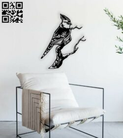Bird on a tree branch E0014795 file cdr and dxf free vector download for laser cut plasma