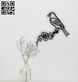 Bird with flower E0014847 file cdr and dxf free vector download for laser cut plasma
