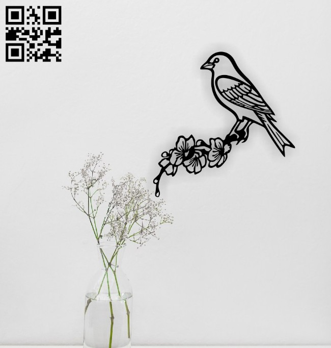 Bird with flower E0014847 file cdr and dxf free vector download for laser engraving machine