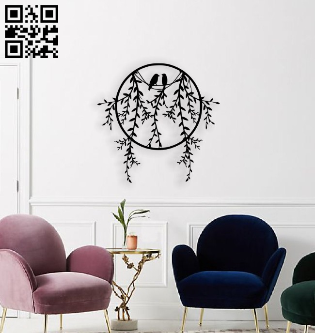 Birds on branch wall decor E0014550 file cdr and dxf free vector download for laser cut plasma