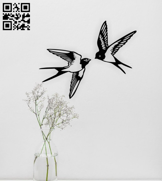 Birds wall decor E0014832 file cdr and dxf free vector download for laser cut plasma