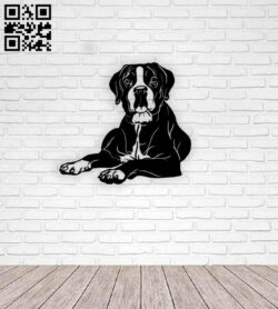 Boxer dog wall decor E0014609 file cdr and dxf free vector download for laser cut plasma