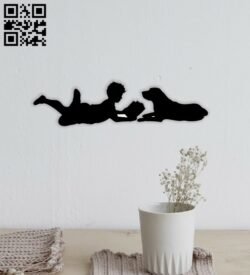 Boy reading book with dog wall decor E0014576 file cdr and dxf free vector download for laser cut plasma