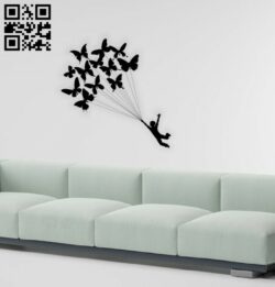 Boy with butterflies wall decor E0014490 file cdr and dxf free vector download for laser cut plasma