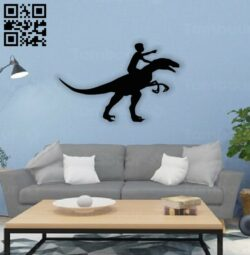 Boy with dinosaur wall decor E0014554 file cdr and dxf free vector download for laser cut plasma