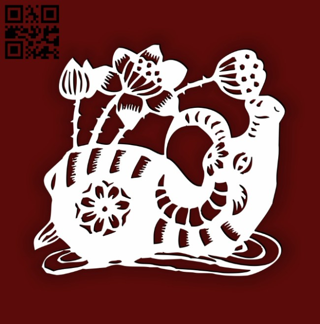 Buffalo with lotus E0014494 file cdr and dxf free vector download for laser cut