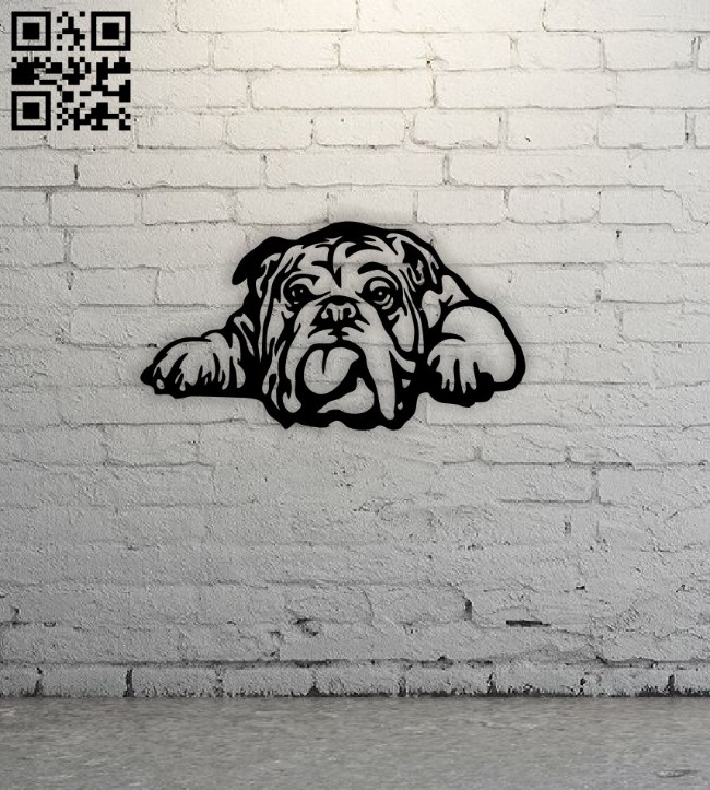 Bull dog wall decor E0014608 file cdr and dxf free vector download for laser cut plasma