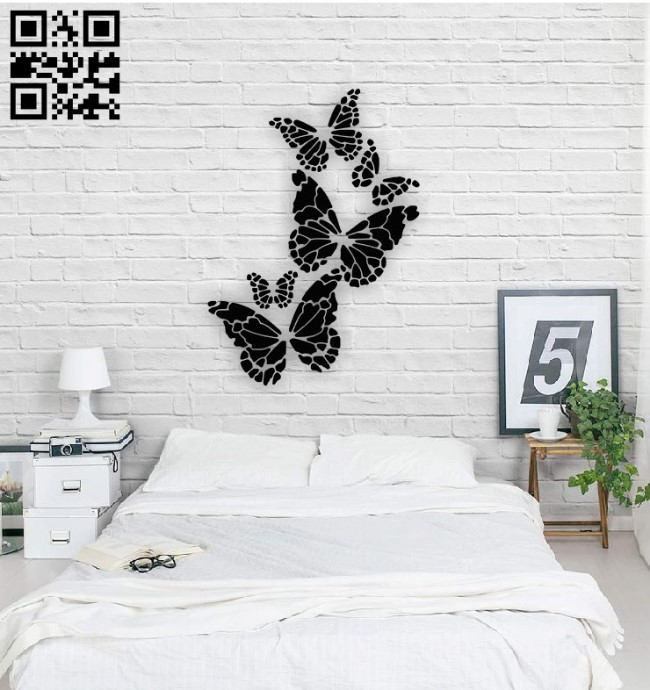 Butterflies wall decor E0014524 file cdr and dxf free vector download for laser cut plasma