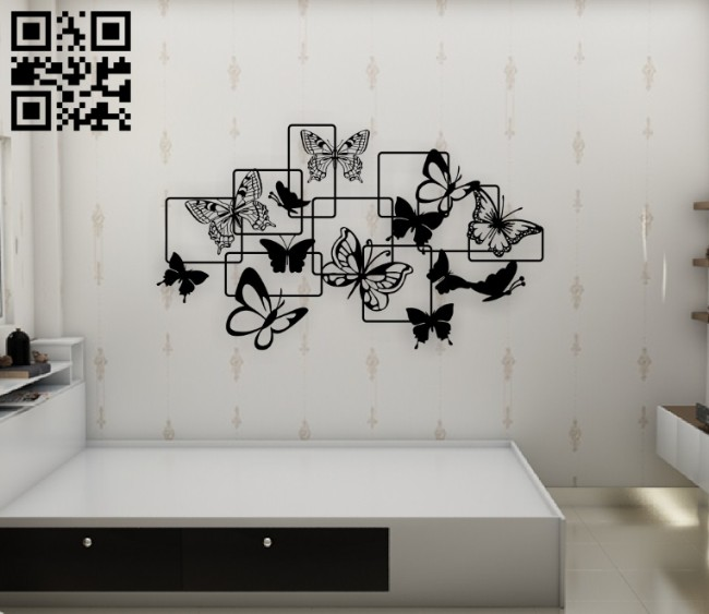 Butterflies wall decor E0014612 file cdr and dxf free vector download for laser cut plasma