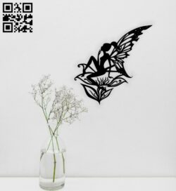Butterfly fairy wall decor E0014791 file cdr and dxf free vector download for laser cut plasma