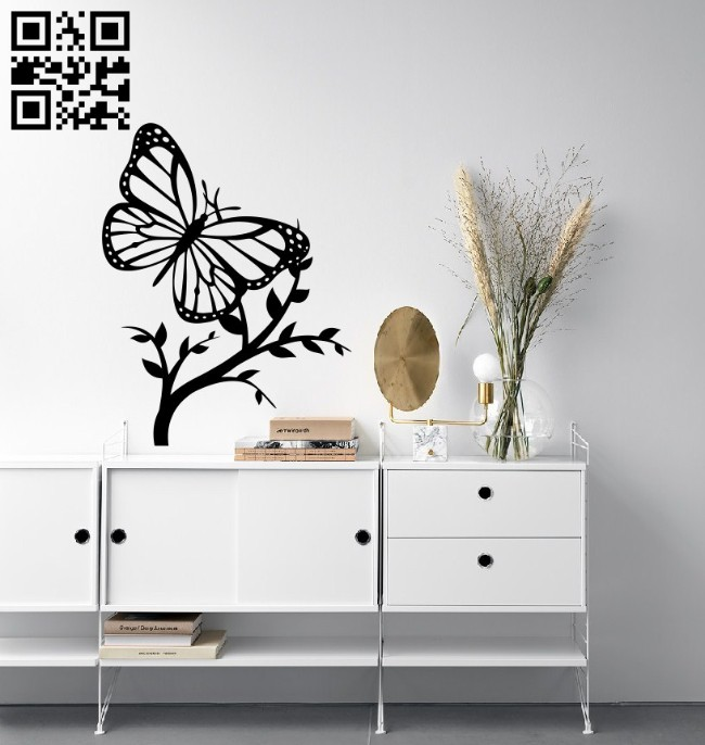 Butterfly wall decor E0014739 file cdr and dxf free vector download for laser cut plasma
