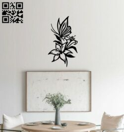 Butterfly with lily wall decor E0014833 file cdr and dxf free vector download for laser cut plasma