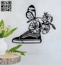 Butterfly with shoe wall decor E0014835 file cdr and dxf free vector download for laser cut plasma