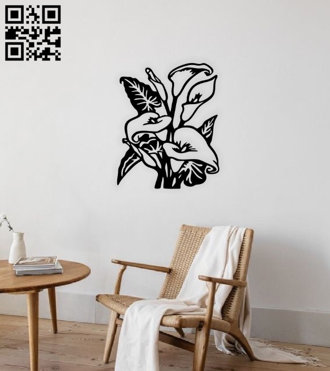 Calla lily wall decor E0014722 file cdr and dxf free vector download for laser cut plasma