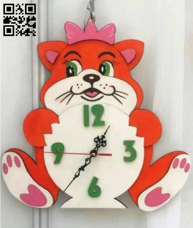 Cat clock E0014819 file cdr and dxf free vector download for laser cut