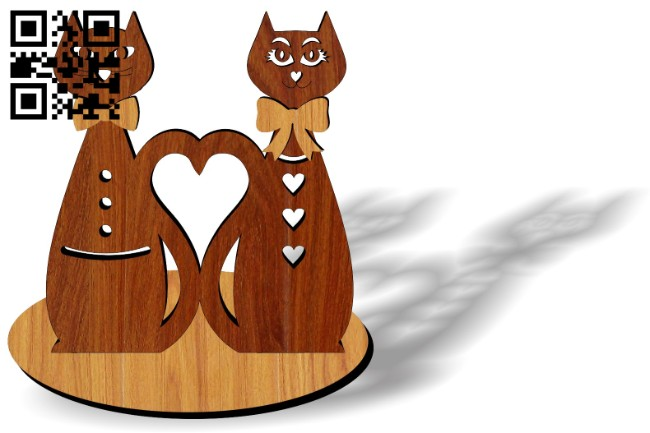 Cat heart E0014673 file cdr and dxf free vector download for laser cut