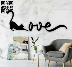 Cat kitten love wall decor E0014603 file cdr and dxf free vector download for laser cut plasma