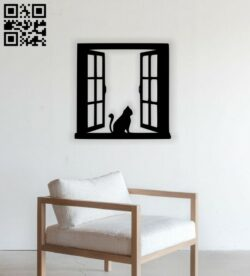 Cat on the window E0014487 file cdr and dxf free vector download for laser cut plasma