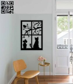 Cat on the window E0014643 file cdr and dxf free vector download for laser cut plasma