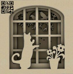 Cat on the window E0014659 file cdr and dxf free vector download for laser cut