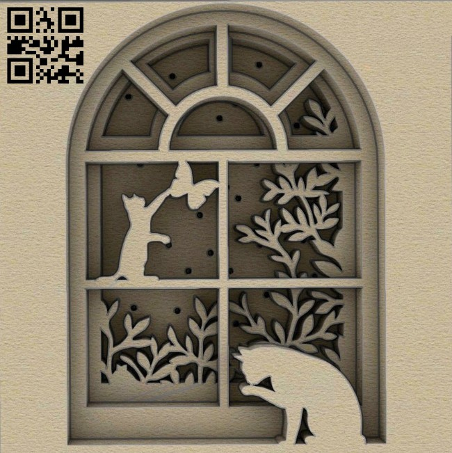 Cat on the window E0014661 file cdr and dxf free vector download for laser cut