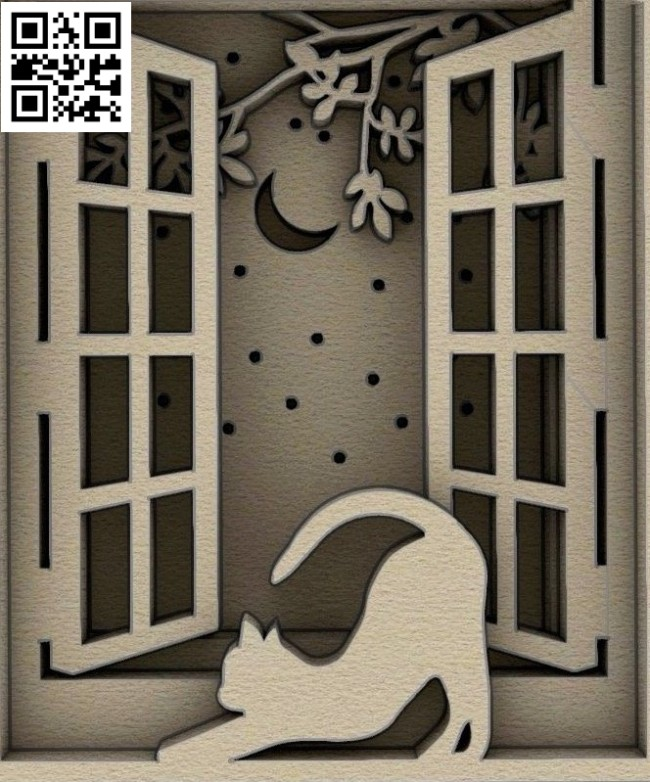 Cat on the window E0014802 file cdr and dxf free vector download for laser cut