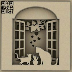 Cats on the window E0014801 file cdr and dxf free vector download for laser cut