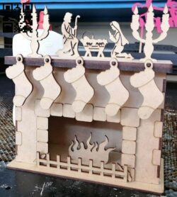 Christmas fireplace E0014590 file cdr and dxf free vector download for laser cut