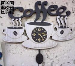 Coffee clock E0014770 file cdr and dxf free vector download for laser cut
