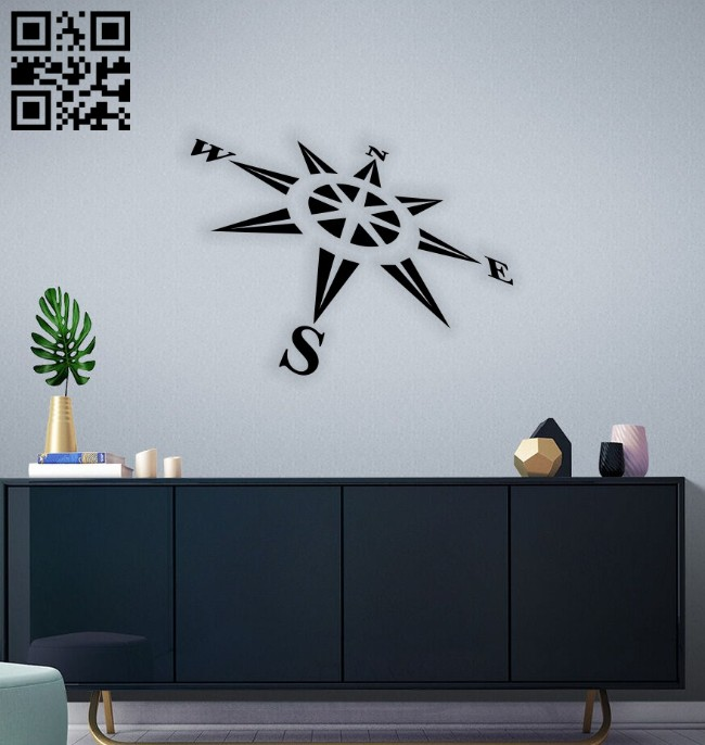 Compass wall decor E0014552 file cdr and dxf free vector download for laser cut plasma