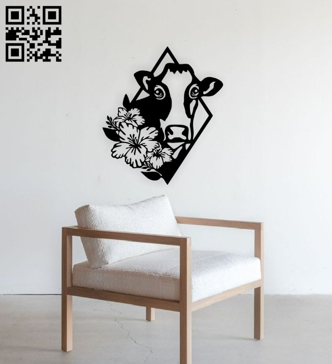 Cow with flower E0014848 file cdr and dxf free vector download for laser cut plasma