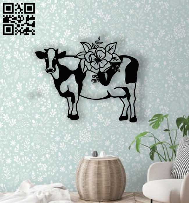 Cow with flowers E0014505 file cdr and dxf free vector download for laser cut