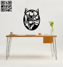Deer forest wall decor E0014743 file cdr and dxf free vector download for laser cut plasma