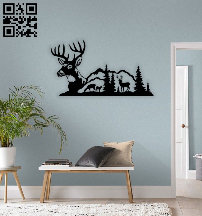 Deer wall decor E0014650 file cdr and dxf free vector download for laser cut plasma