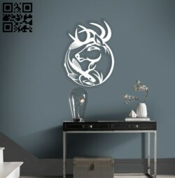 Deer with fish wall decor E0014740 file cdr and dxf free vector download for laser cut plasma