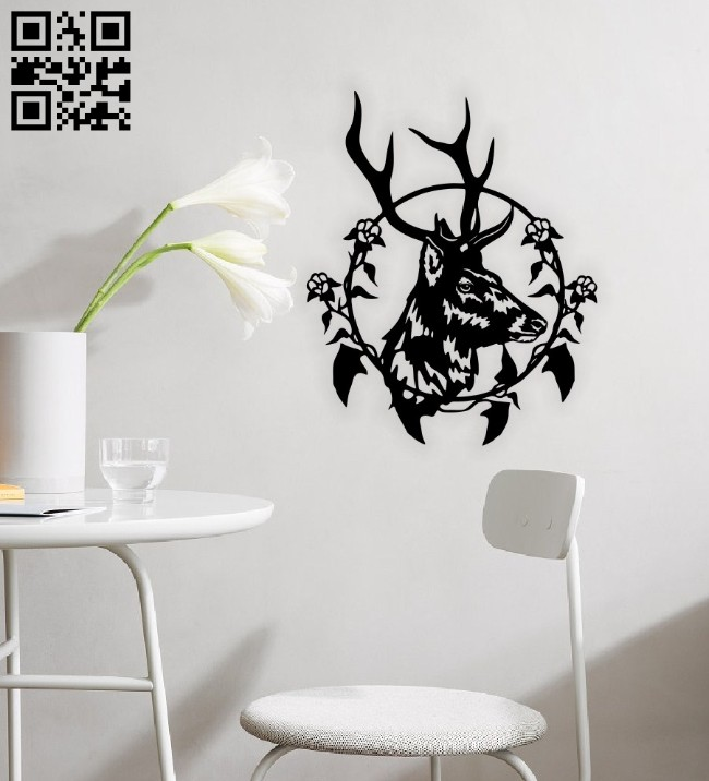 Deer with flower E0014736 file cdr and dxf free vector download for laser cut plasma