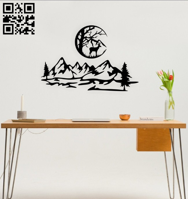 Deer with mountain wall decor E0014789 file cdr and dxf free vector download for laser cut plasma