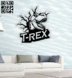 Dinosaur wall decor E0014749 file cdr and dxf free vector download for laser cut plasma