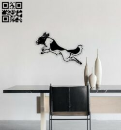 Dog jumping wall decor E0014611 file cdr and dxf free vector download for laser cut plasma