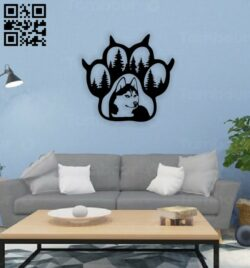 Dog paw wall decor E0014691 file cdr and dxf free vector download for laser cut plasma