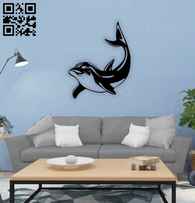 Dolphin wall decor E0014568 file cdr and dxf free vector download for laser cut plasma